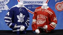Jerseys to be worn at the NHL Winter Classic hockey game are shown on display in Detroit, Sunday April 7, 2013. (Paul Sancya/AP)
