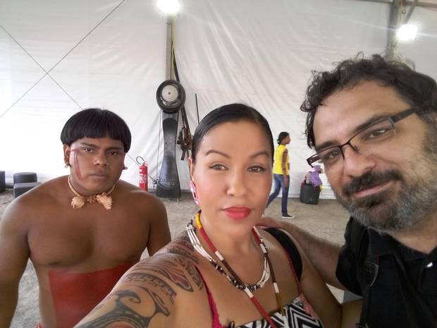 Deanna Ledoux of the Treaty 6 Cree people takes a selfie with Urias Tsumey'wa of the Xarante people, left, and the Brazilian journalist who translated their encounter.