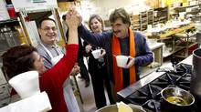 Provincial NDP candidate Wayne Gates visits the La Farina Italian Bakery in Niagara Falls, Ont. on Jan. 31, 2014 ahead of a by-election on Feb. 13. (PETER POWER/THE GLOBE AND MAIL)