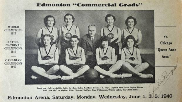 Kay MacBeth, née MacRitchie, is shown with her teammates at bottom right. She says the teammates stayed close even after they disbanded in 1940.