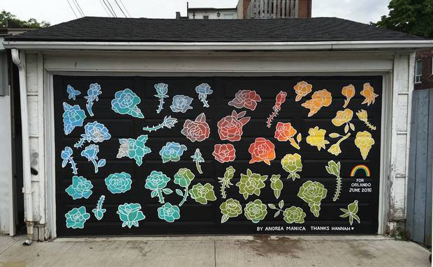 Orlando, a memorial mural to the 2016 Orlando shooting, was painted by Andrea Manica in downtown Toronto. It features a flower for each victim of the attack.