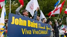 Iranian Canadians rally in support of Ottawa's decision to close its embassy in Iran. (SEAN KILPATRICK/THE CANADIAN PRESS)