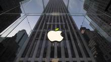 The Apple symbol at the Apple flagship store on 5th Ave in New York on April 22, 2014. (BRENDAN McDERMID/REUTERS)
