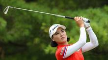 So Yeon Ryu of South Korea watches her tee shot on the second hole, during third round play at the Canadian Pacific Women's Open golf tournament. (DAVIS CHIDLEY/THE CANADIAN PRESS)