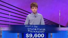 """You misspelled it badly,"" Mr. Trebek says to the visibly shocked 12-year-old. (YouTube)"