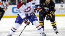 Buffalo Sabres center Steve Ott (9) chases Montreal Canadiens defenseman P.K. Subban (76) during the first period of their NHL hockey game in Buffalo, New York February 7, 2013. (DOUG BENZ/REUTERS)