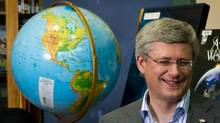 Prime Minister Stephen Harper smiles during an appearance Tuesday at Shaughnessy Elementary School in Vancouver. (DARRYL DYCK/THE CANADIAN PRESS)