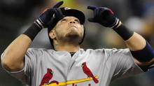 St. Louis Cardinals catcher Yadier Molina reacts after hitting a double in the fourth inning of game two of the 2011 NLCS against the Milwaukee Brewers at Miller Park. Jeff Curry-US PRESSWIRE (Jeff Curry-US PRESSWIRE/Jeff Curry)