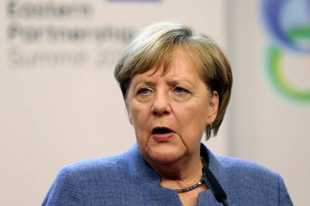 German Chancellor Angela Merkel holds a news conference after a Eastern Partnership summit at the European Council Headquarters in Brussels, Belgium, Nov. 24, 2017.