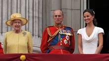 Queen Elizabeth II, Prince Philip, Duke of Edinburgh and Pippa Middleton on the balcony at Buckingham Palace after the Royal Wedding of Prince William to Catherine Middleton on April 29, 2011 in London, England. The marriage of the second in line to the British throne was led by the Archbishop of Canterbury and was attended by 1900 guests, including foreign Royal family members and heads of state. Thousands of well-wishers from around the world have also flocked to London to witness the spectacle and pageantry of the Royal Wedding. (John Stillwell-WPA Pool/Getty Images/John Stillwell-WPA Pool/Getty Images)