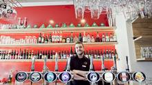 Bartender Steinn Stefánsson says Microbar sells 25 unique beers. (grapevine.is)