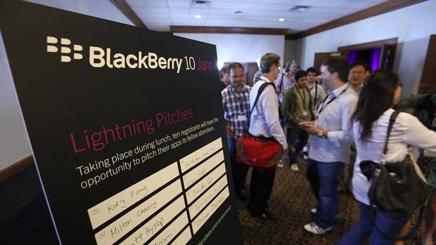 Software developers attend the Blackberry 10 Jam in Kitchener-Waterloo, Ont. on Thursday, where Research In Motion Ltd. gave them a preview of its next-generation smartphones. (Deborah Baic/The Globe and Mail)