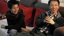 Thhis January, 2007, photo shows prominent human rights activist Hu Jia, right, during an interview at his home in Beijing. (Frederic J. Brown/AFP/Getty Images/Frederic J. Brown/AFP/Getty Images)