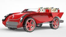 A Bombardier Santa Car concept - the vehicle has one large seat in the front, and a large cargo area behind the front seat to store gifts and luggage. (Bombardier)