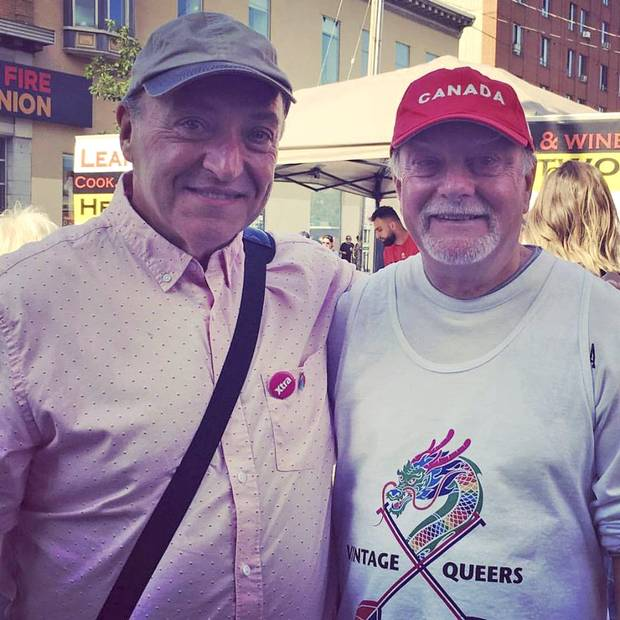 Bill Staubi, 62, left, came out at 45 after 20 years of marriage to his wife. He attended last month's Pride parade in Ottawa with friend George Hartsgrove.