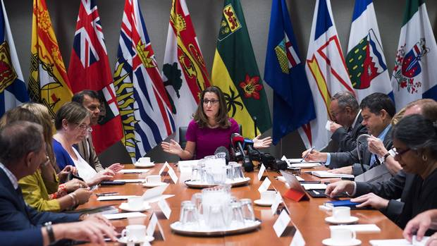Foreign Affairs Minister Chrystia Freeland, centre, holds a roundtable consultation on NAFTA with labour stakeholders in Toronto on Tuesday, August 15, 2017