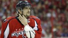 Washington Capitals left wing Alex Ovechkin pasues during a break in play against the New York Rangers during the second period in game 3 of their NHL Eastern Division playoff game in Washington on May 2. (Gary Cameron/Reuters/Gary Cameron/Reuters)