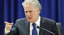 Quebec Premier Jean Charest testifies during an inquiry into alleged influence peddling in judicial appointments in in Quebec City on Sept. 24, 2010. (MATHIEU BELANGER/REUTERS)