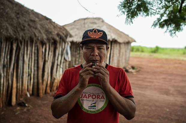 After armed men attacked Guaiviry and killed his father, Genito Gomes used this whistle to call the family out of the forest when the men had left the area.