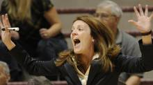 Chantall Vallée , coach of the women's Windsor Lancers basketball, reacts to play at the CIS Women's basketball championship at McMaster University in Hamilton, Ont.. PHOTO BY FRED LUM/ THE GLOBE AND MAIL (Fred Lum)