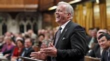 Jay Hill, the Conservative MP for Prince George-Peace River, delivers his farewell address to the House of Commons on Oct. 4, 2010. (CHRIS WATTIE/REUTERS)