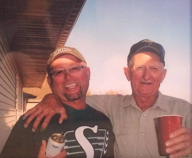 Pat Kucik (left) with his father Mike Kucik, who was killed in a murder suicide in Saskatchewan in July 2016.