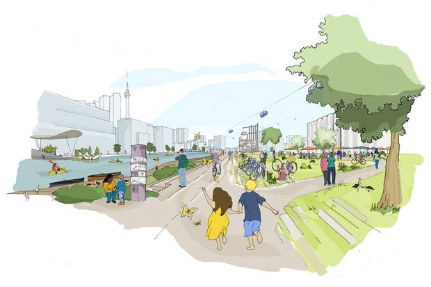 An artist's illustration shows what Sidewalk Labs's 'Sidewalk Toronto' redevelopment of the waterfront would look like.