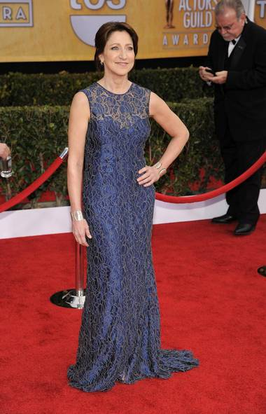 Edie Falco wore blue to the Screen Actors Guild Awards at the Shrine Auditorium in Los Angeles on Sunday. (Chris Pizzello/AP)