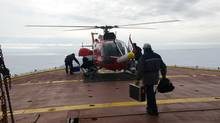 A 2008 file photo shows a helicopter on the deck of the Amundsen during a research trip in the Arctic. (OLIVIER DESSIBOURG)