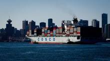 A container ship enters the Port of Vancouver (DARRYL DYCK For The Globe and Mail)