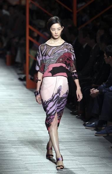 A model wears a creation designed by Angela Missoni at Tokyo Fashion Week (Junji Kurokawa/AP)