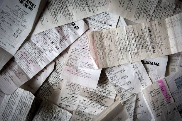 Mr. Sharbaji saves all of the receipts for things he purchases for his mother, who has to take expensive medication.