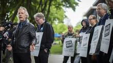 BCTF President Jim Iker speaks to the media at Charles Dickens Elementary School in Vancouver on May 26, 2014, the first day of rotating teacher strikes in B.C. (John Lehmann/The Globe and Mail)