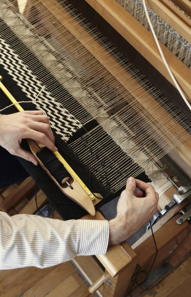 As a teenager, Sutherland's sister got him into knitting. His mom bought him his first loom.