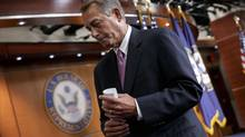 House Speaker John Boehner of Ohio wraps up a news conference on his legislative agenda, Wednesday, March 26 on Capitol Hill in Washington. (J. Scott Applewhite/AP)