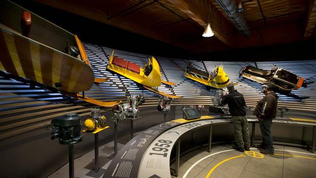Visitors tour The Museum of Ingenuity: J. Armand Bombardier in Valcourt, Que.