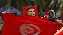 A demonstrator holds a Tunisian flag as he joins others to protest for more compensation for the families of those injured or killed during the uprising against Ben Ali in 2008, outside the parliament in Tunis January 17, 2013. Tunisian authorities are also concerned about spillover from the unrest in Mali. (ANIS MILI/REUTERS)
