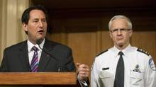 Montreal Mayor Michael Applebaum, left, and Montreal chief of police Marc Parent speak at a news conference on Jan. 11, 2013, where they announced the formation of a new anti-corruption unit. Mr. Applebaum has since denied allegations that he has ties to the Mafia. (Graham Hughes/The Canadian Press)