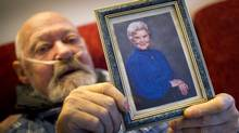 Walt Sturhahn holds a picture of his late mother, Katie Sturhahn, at his home in Vancouver. (John Lehmann/The Globe and Mail/John Lehmann/The Globe and Mail)
