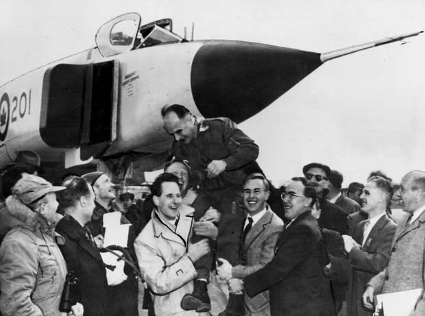 The Avro Arrow with test pilot Jan Zurakowski, leaving the flight test hangar, 1958.
