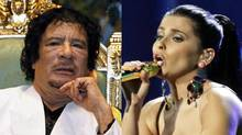 Moammar Gadhafi in Tripoli, Sept. 1, 2010; Nelly Furtado at the Grammys in Las Vegas, Nov. 11, 2010. (Ismail Zitouny / Reuters; Julie Jacobson / AP)