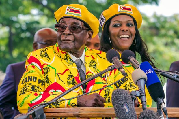 Robert Mugabe addresses supporters gathered at his party headquarters to show support to Grace Mugabe becoming the party's next Vice President after the dismissal of Emerson Mnangagwa on Nov. 8, 2017.