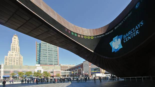 A plaza entry to Barclays Center, Brooklyn's new arena and home of the Brooklyn Nets NBA basketball team is shown on Friday, Sept. 21, 2012 in New York. (Reuters)