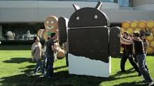 Google's Android Ice Cream Sandwich logo, as seen in a video at youtube.com/android (Courtesy YouTube)