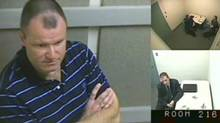 "Col. Russell Williams is shown in this court-released image from his interrrogation by police captured on video and shown Wednesday in a Belleville, Ont. courtroom. Williams told police that while he did ask himself why he raped and killed women he could never come up with an answer and he was ""pretty sure the answers don't matter."" (The Canadian Press)"