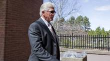 Former Toronto Maple Leafs captain Rick Vaive enters a courthouse where he is expected to receive his sentence on impaired driving charges in Newmarket, Ont., on Thursday, April 12, 2012. (Michelle Siu/The Canadian Press/Michelle Siu/The Canadian Press)