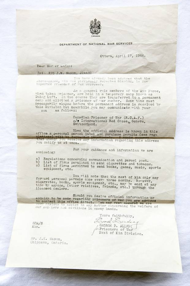 A government letter informs the Masons in Chippawa that their son has been reported a prisoner of war.