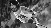 Todd Brooker, of Canada leans into a turn during his winning run in the mens World Cup downhill event at Aspen on Sunday, March 6, 1983 (Associated Press)