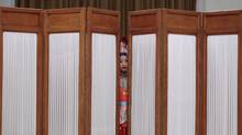 A girl looks out from behind a screen as she waits to perform during celebrations for the upcoming International Women's Day at the Great Hall of the People in Beijing March 7, 2012. REUTERS/Jason Lee (CHINA - Tags: SOCIETY ANNIVERSAR (JASON LEE/Jason Lee/REUTERS)