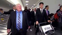 Rob Ford is greeted at the Los Angeles airport by Jimmy Kimmel wearing a chauffeur's hat on March 1, 2014. (CTV)